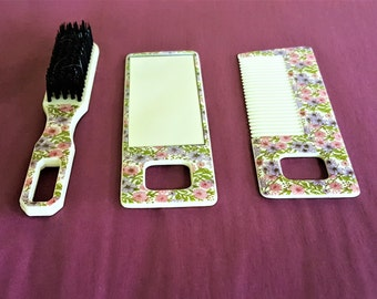 Childs Vanity Hair Brush Comb Mirror Set Hong Kong Plastic Pink Floral Hand Beauty Set