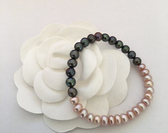 Simple No Clasp Freshwater pearl bracelet