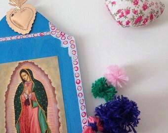 Altarpiece Virgin of Guadalupe, ethnic, Boho, Kitsch, pompon, colors, ex-voto