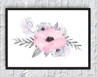 Pink flower watercolor print, watercolor flowers, floral watercolor, art print, wall art print, printable, floral print, watercolor poster