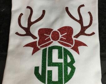 Rudolph Monogram Christmas t-shirt, Reindeer Monogram Shirt, Christmas t-shirt, Monogram Christmas Tee
