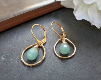 Amazonite earrings, gold teardrop earrings, teardrop hoop earrings, amazonite jewelry, gemstone hoop earrings, wife gift idea