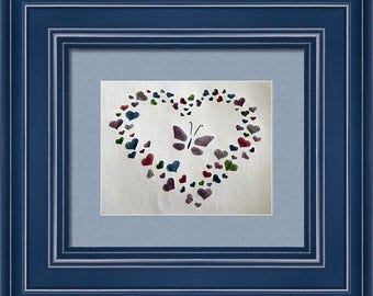 Butterfly and Hearts - Framed Print