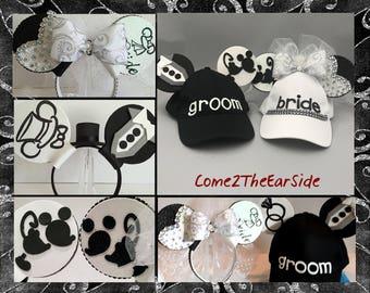 Custom Bride Groom Mr Mrs Wedding Honeymoon Disney Inspired Mickey and Minnie Ears Hat
