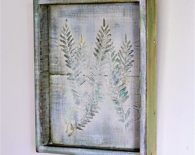 Cedar Wall Decor, Cedar Tray, Fern Decor, Plaster Fern, Feather Tray Wall, Boho Decor, Farmhouse Wall Art, Indoor Outdoor Tray