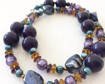 Necklace purple and teal