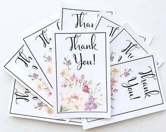 INSTANT DOWNLOAD/Printable Thank You Cards-watercolor floral, small shop, business