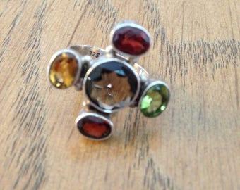 Sterling Precious Stone Ring