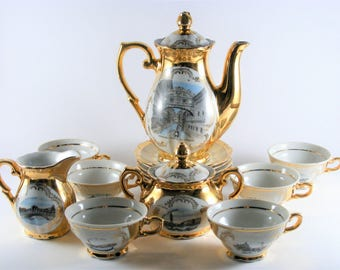 Vintage Bavaria 22k Gold Plated Porcelain Coffee - Tea Complete Set With Venice Monument Printings