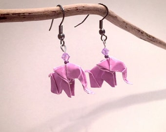 Origami paper 'pink elephants' earrings and Pearl them Swarovski