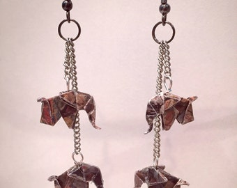 """Origami paper elephants duo colors """"stone"""" earrings"""