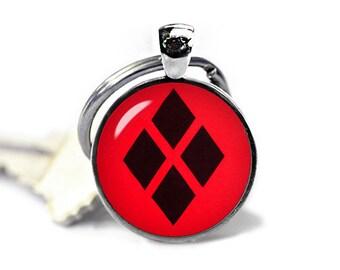 Harley Quinn Key Ring Harley Quinn Keyfob Harley Quinn Keychain Fandom Jewelry