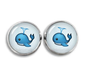 Blue Whale Stud Earrings Emoji Earrings Emoji Blue Whale Stud Earrings 12mm earrings