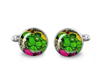 Hulk Cuff Links Hulk Comic Cuff Links 16mm Cufflinks Gift for Men Groomsmen Novelty Cuff links Fandom Jewelry