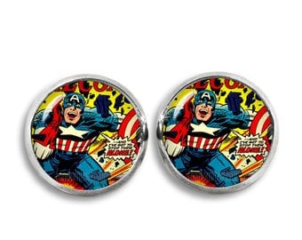 Captain America Stud Earrings Captain America Comic earrings Superhero Geeky Fandom Jewelry Cosplay Fangirl Fanboy