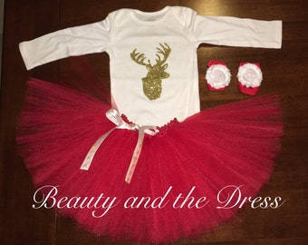 Gold glitter reindeer and red tutu set, holiday tutu set, christmas tutu set, deer tutu set, deer holiday tutu set, infant tutu set,
