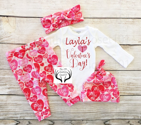 Girls First Valentine's Day Outfit,Custom Names 1st Valentines Day, Girl Coming home outfit, Hearts,Red,Pink,Valentines,Valentines Leggings