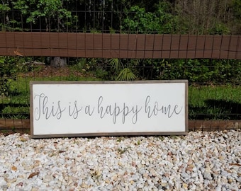 This Is A Happy Home Framed Sign 1'x3' |Family|Inspirational|Handpainted|Rustic|Home
