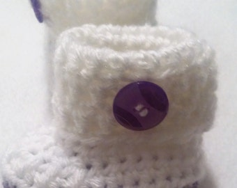 White and Purple Girl Baby Booties