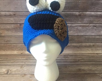 Cookie Monster Slouchy Hat, Character Hat, Cookie Monster Costume, Sesame Street Inspired Hat