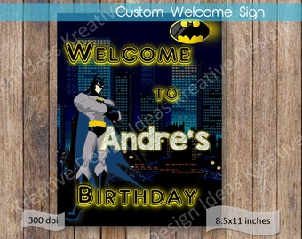Batman Welcome Sign Batman Name Welcome Sign Printable Batman Birthday Batman Birthday Party Batman Party Theme Batman Door Sign