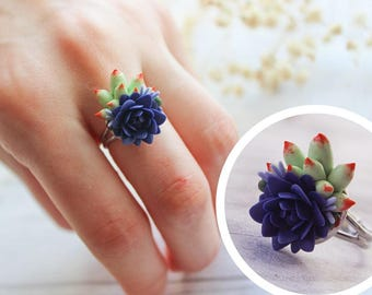 purple flower ring, succulent ring, purple jewelry, succulent jewelry, cactus ring, purple
