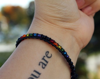 Rainbow Pride - Leather Bracelet - Beaded Bracelet - Wrap Bracelet - Stackable Bracelet - Gay Pride - Rainbow Jewelry - LGBTQ - Lesbian