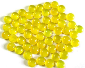 10 Pieces Lot 5mm YELLOW  CHALCEDONY Round Cabochon Smooth polished gemstone