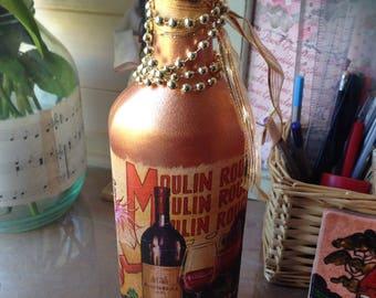 Beautiful painted bottle - candle holder/decoupage/shabby chic/gift idea