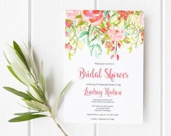 Bridal Shower Invitations, Printable Bridal Shower Invitations, Floral Watercolor Invitations, Bridal Shower Invite