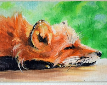 Original Oil Painting, Resting Fox