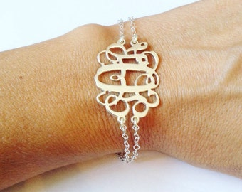 LARGE Monogram bracelet, Initial Bracelet, bracelet monogram, Letters Bracelet, Mothers Day Gift, Initials bracelets, Valentines Gift, bride