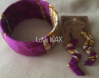 Set of earrings and bracelet WAX purple light