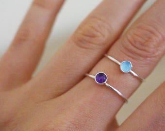 Amethyst Ring, Sterling Silver, Gemstone Ring, Birthstone Silver Ring, Stackable Ring, Minimal Ring