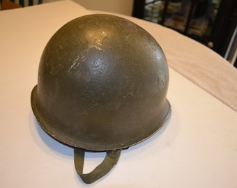 WWII Combat Helmet with Liner and Chin Strap, Front Seam and Swivel Bales