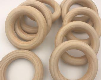 "Set of 10 ORGANIC Wood Rings 2.5"" Unfinished SECONDS  CPSIA bulk Teething Rings Montessori"