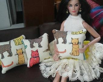 Doll house decorative cat pillows Fit's Barbie size 1:6 Scale