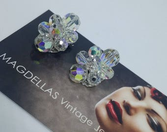 Sherman Signed Aurora Borealis Swarovski  Crystal Cluster Clip On Earrings