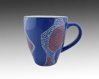 "Coffee Mug- Coffee Cup - Blue Mug - Ceramic Mug- Hand painted Mug-Colorful Blue ""Maisha"" Coffee Mug - Mugs 12 oz"