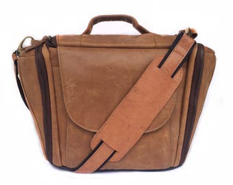 Antique Leather Dslr Camera bag Messenger  bag