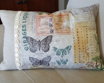 Botanical Butterflies - Designer Print Feather Down Pillow