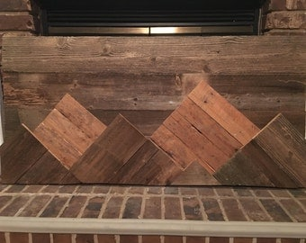 Reclaimed Wood Mountain Landscape