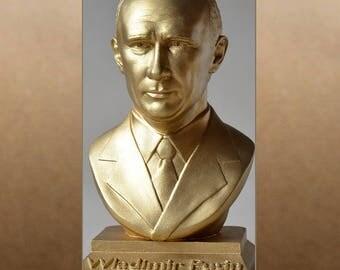 Wladimir Putin color gold bust figure sculpture