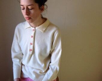 80s Scottish cashmere polo white cream sweater jumper Size Medium /8/10/12/14