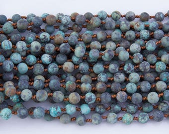 "SALE! African Turquoise 8mm 38"" & 60"" Round Beads, Necklace, Bracelet, Long Strand, Semi-Precious Beads, Knotted Stone, Long Stone Necklace"