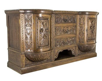 B442 Magnificent Heavily Carved Victorian Oak Sideboard, Buffet
