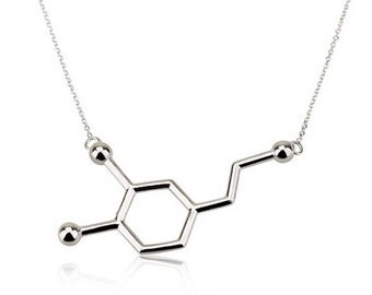 Dopamine Necklace,Sterling Silver Molecule Necklace,Science jewelry,Chemistry necklace,Bridesmaid Gift