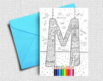 Greeting Card, Coloring Cards, Kids Coloring, Friendship Card, Printable Card, Birthday Card, Digital Coloring Cards, INSTANT DOWNLOAD