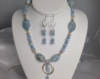 Shades Of Blue Necklace and Earrings