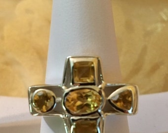 USA-FREE SHIPPING!!  Cross with Citrine Stones Sterling Silver Ring